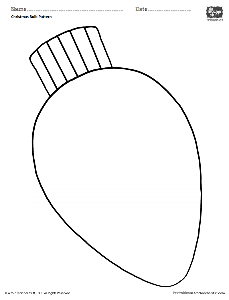 Christmas Bulb Coloring Pattern or Coloring Sheet | A to Z Teacher ...