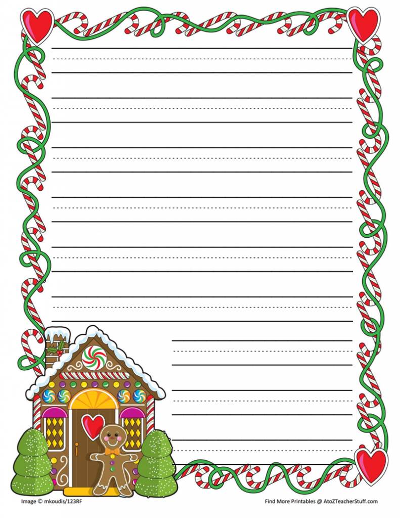 gingerbread printable border paper with and without lines | a to z