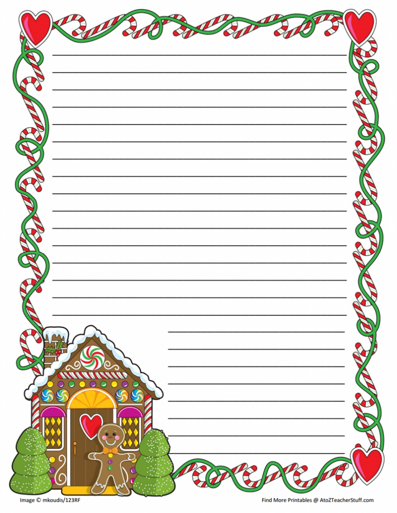 Gingerbread Printable Border Paper With And Without Lines  Free Printable Writing Paper