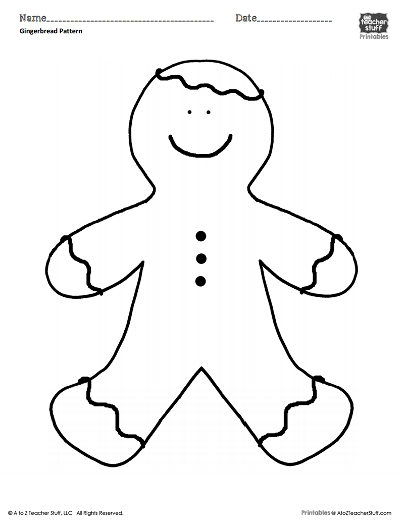 Gingerbread Man Coloring Sheet or Pattern A to Z Teacher Stuff