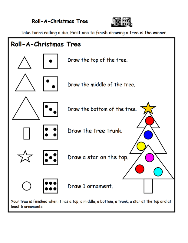 Roll A Christmas Tree Printable Game  A to Z Teacher Stuff